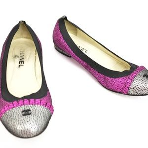 CHANEL Shoes - CHANEL Metallic Fuchsia Leather & CC Ballet Flats